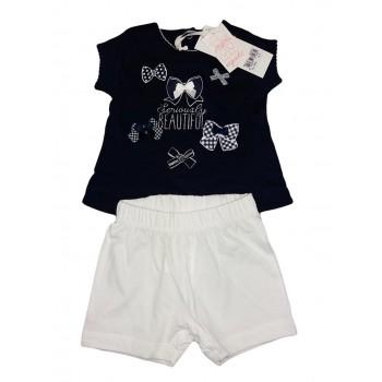 Completo maglia maglietta pantaloncino bimba neonato Dodipetto Mignolo blu