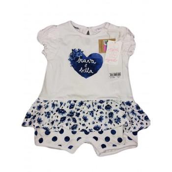 Pagliaccetto tutina bimba neonato mezza manica bianco blu Dodipetto Mignolo