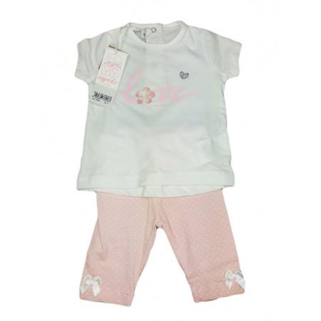 Completo maglia maglietta leggings bimba neonato Dodipetto Mignolo bianco rosa