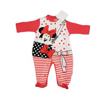 Tuta tutina cotone bimba neonato Disney baby Minnie Mouse amarena