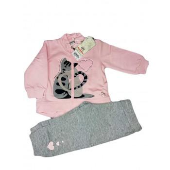 Completo tuta 2pz maglia maglietta pantalone bimba neonato Dodipetto Mignolo grigio rosa
