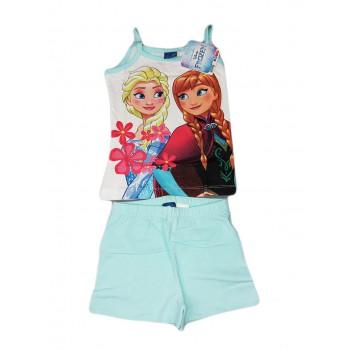 Completo canotta pantaloncino bimba bambina Arnetta Disney Frozen turchese