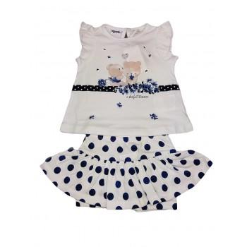 Completo maglia maglietta gonna bimba neonato Dodipetto Mignolo bianco blu