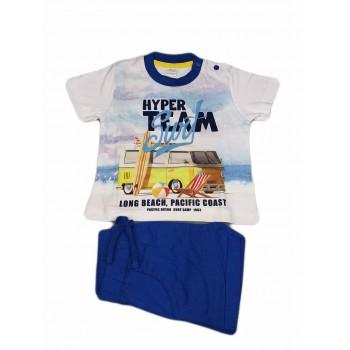 Completo maglia maglietta pantaloncino bimbo neonato Ellepi bianco azzurro