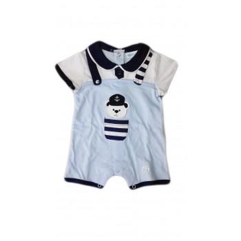 Pagliaccetto tutina bimbo neonato mezza manica bianco blu Melanie