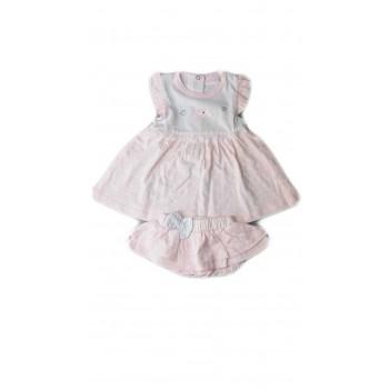 Vestitino con slip gonnellina bimba neonato senza manica bianco rosa Melanie