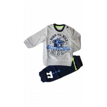 Completo tuta 2pz maglia maglietta pantalone bimbo neonato Dodipetto Mignolo grigio blu
