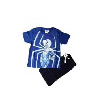 Completo maglia maglietta pantaloncino bimbo bambino Spiderman blu