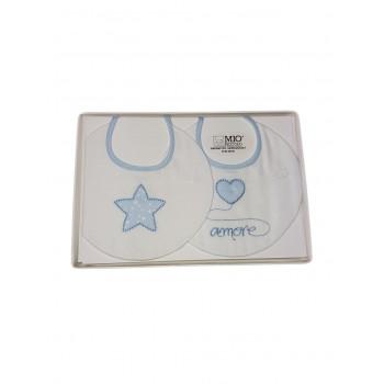 Confezione regalo 2 pz bavetta bavaglini bavagli bimbo neonato cotone Mio piccolo