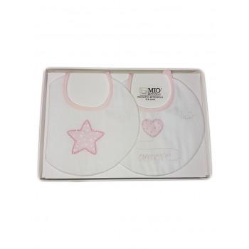 Confezione regalo 2 pz bavetta bavaglini bavagli bimba neonato cotone Mio piccolo