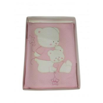 Copertina coperta culla carrozzina bimba neonata ricamo orsetto Mio Piccolo  rosa