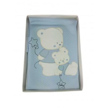 Copertina coperta lettino culla bimbo neonato Mio Piccolo ricamo orsetto cielo