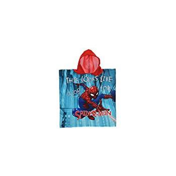Poncho accappatoio telo mare bimbo microfibra spiderman rosso