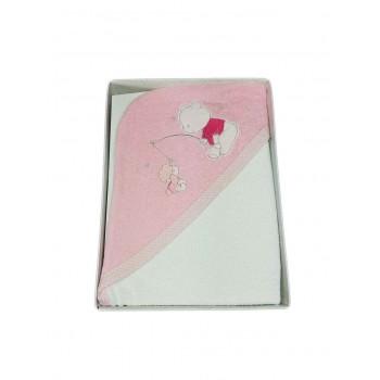 Accappatoio triangolo telo spugna bimba neonato bianco rosa Ellepi AB4150