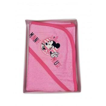 Accappatoio triangolo bimba neonato spugna Minnie Disney baby rosa fucsia