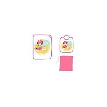 Set asilo 3pz bavetta bavaglino + tovaglietta + sacco bimba bambina Disney Minnie rosa fucsia