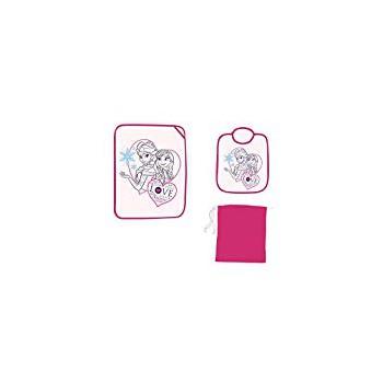 Set asilo 3pz bavetta bavaglino + tovaglietta + sacco bimba bambina Disney Frozen rosa fucsia