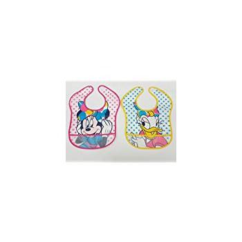 Confezione 2pz bavettone bavetta mangiapappa con strappo bimba bambina ellepi Disney Minnie e Paperina