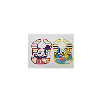 Confezione 2pz bavettone bavetta mangiapappa con strappo bimbo bambino ellepi Disney Mickey e Paperino