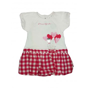 Abitino abito vestito bimba neonata mezza manica Ellepi bianco fucsia