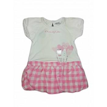 Abitino abito vestito bimba neonata mezza manica Ellepi bianco rosa