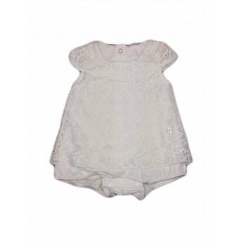 Abitino vestito pagliaccetto ricamato bimba neonata mezza manica Ellepi bianco