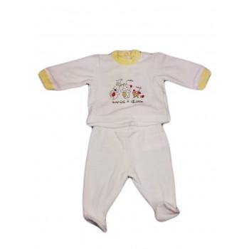 Completo 2pz ciniglia bimbo neonato Chicco panna giallo