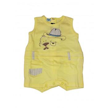 Pagliaccetto tutina bimbo neonato mezza manica Pixel giallino