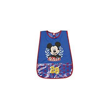 Copri grembiule bavetta pvc con tasche frontali  e  strappo postreriore bimbo bambino Perletti  Disney Mickey blu 99251