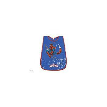 Copri grembiule bavetta pvc con tasche frontali  e  strappo postreriore bimbo bambino Perletti Spiderman blu 99693