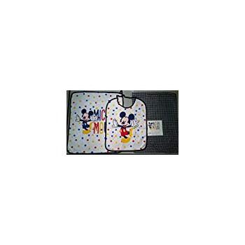 Set asilo 3pz bavetta bavaglino + tovaglietta + sacco bimbo bambino Disney Mickey  blu