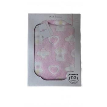 Copertina coperta pile T&R baby culla carrozzina bimba neonato bianco rosa