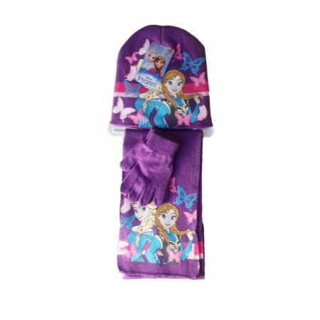 genuino stile classico reputazione prima Set 3pz cappello sciarpa guanti bambina Disney Frozen viola ...