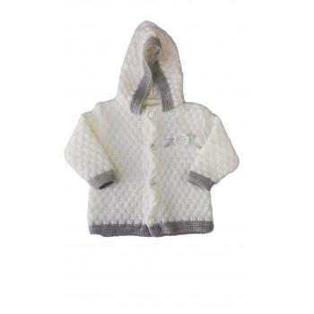 Cappottino cardigan lana bimba neonato La Rocca panna grigio