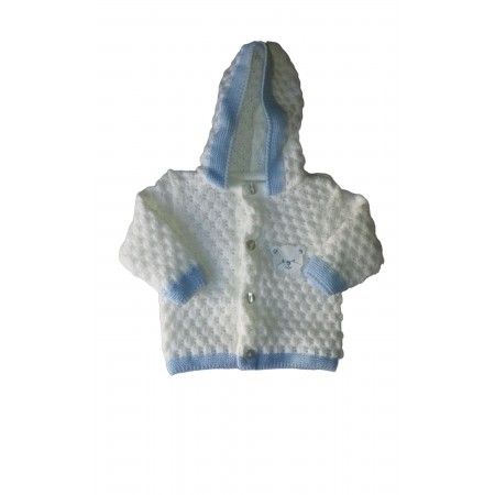 Cappottino cardigan lana bimbo neonato La Rocca bianco panna cielo