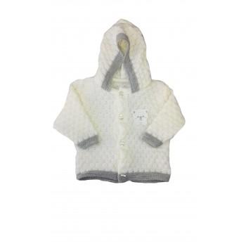 Cappottino cardigan lana bimbo neonato La Rocca bianco panna grigio