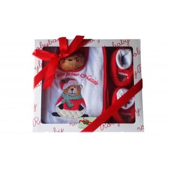 Confezione regalo set 3pz bavetta bavaglino bavaglio scarpine e giochino Natale bimba bimbo neonato Roby Baby bianco