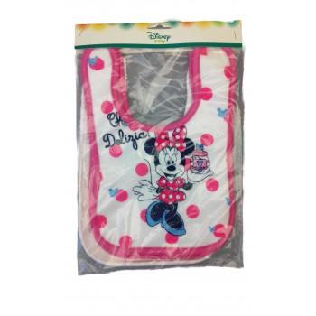 Confezione 3 pezzi bavetta bavaglino bavagli bimba neonata ellepi Disney baby minnie