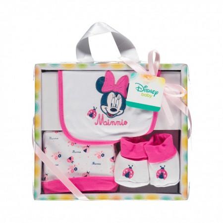 Set regalo 3pz bavetta bavaglino + cappellino + scarpine cotone bimba bambina ellepi Disney baby Minnie