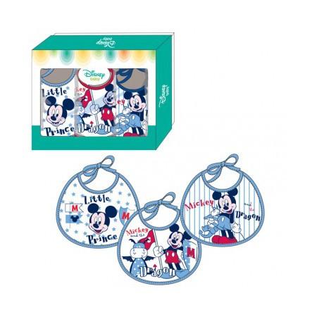 Confezione 3 pezzi bavetta bavaglino bimba neonato ellepi Disney baby Mickey