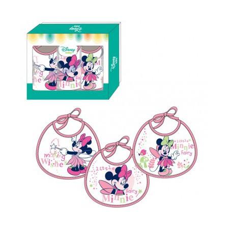 Confezione 3 pezzi bavetta bavaglino bimba neonato ellepi Disney baby Minnie