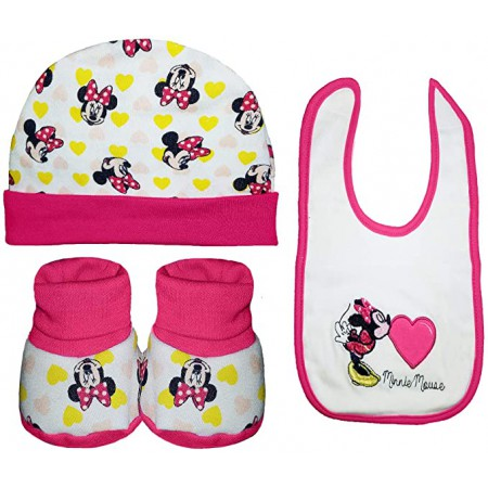 Set regalo 3pz bavetta bavaglino + cappellino + scarpine cotone bimba bambina Disney baby Minnie