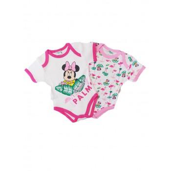 Bi-pack body intimo bimba neonato mezza manica disney baby minnie rosa fucsia