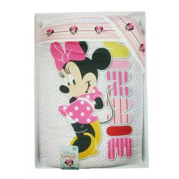 Completo 3pz lettino culla bimba neonato lenzuolo stampa Minnie ellepi Disney baby rosa