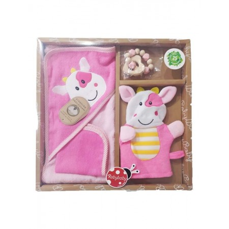 Set regalo 4pz cotone accappatoio, salvietta, guanto e massaggiagengive rosa roby baby