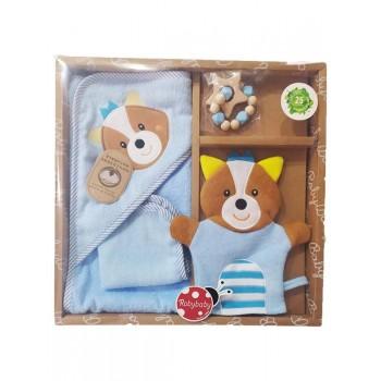 Set regalo 4pz cotone accappatoio, salvietta, guanto e massaggiagengive cielo roby baby