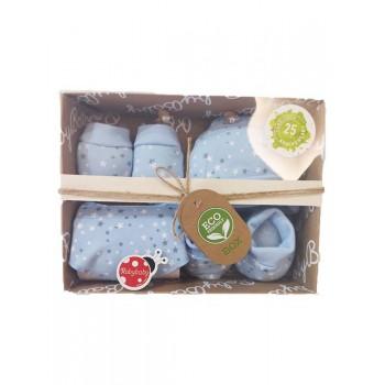 Set regalo nascita 4pz cotone cappellino, scarpine, muffole e bavetta roby baby