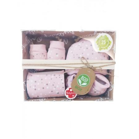 Set regalo nascita 4pz cotone cappellino, scarpine, muffole e bavetta roby baby rosa