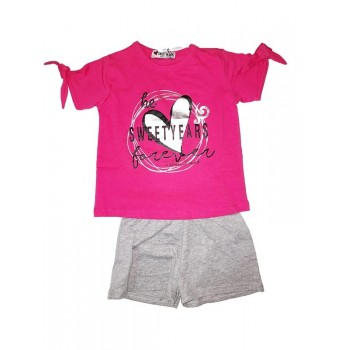 Completo 2pz T-shirt e pantaloncino cotone bambina Sweet Years