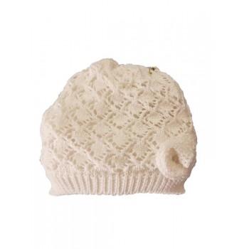 Cappello cappellino artigianale cotone bimba nancy baby made in Italy bianco